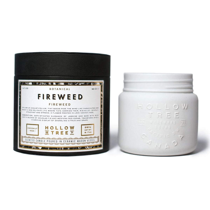 """Fireweed"" coconut wax candle from HOLLOW TREE 1871, available at LABRADOR SUPPLY CO."