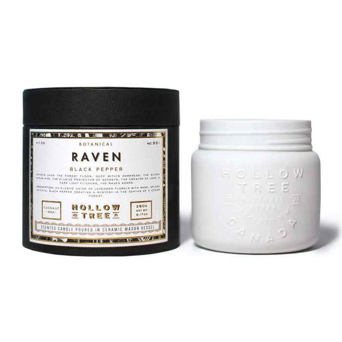 """Raven"" coconut wax candle from HOLLOW TREE 1871, available at LABRADOR SUPPLY CO."