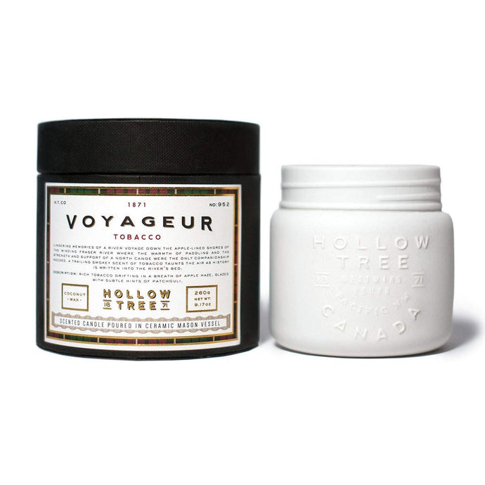 """Voyageur"" coconut wax candle from HOLLOW TREE 1871, available at LABRADOR SUPPLY CO."