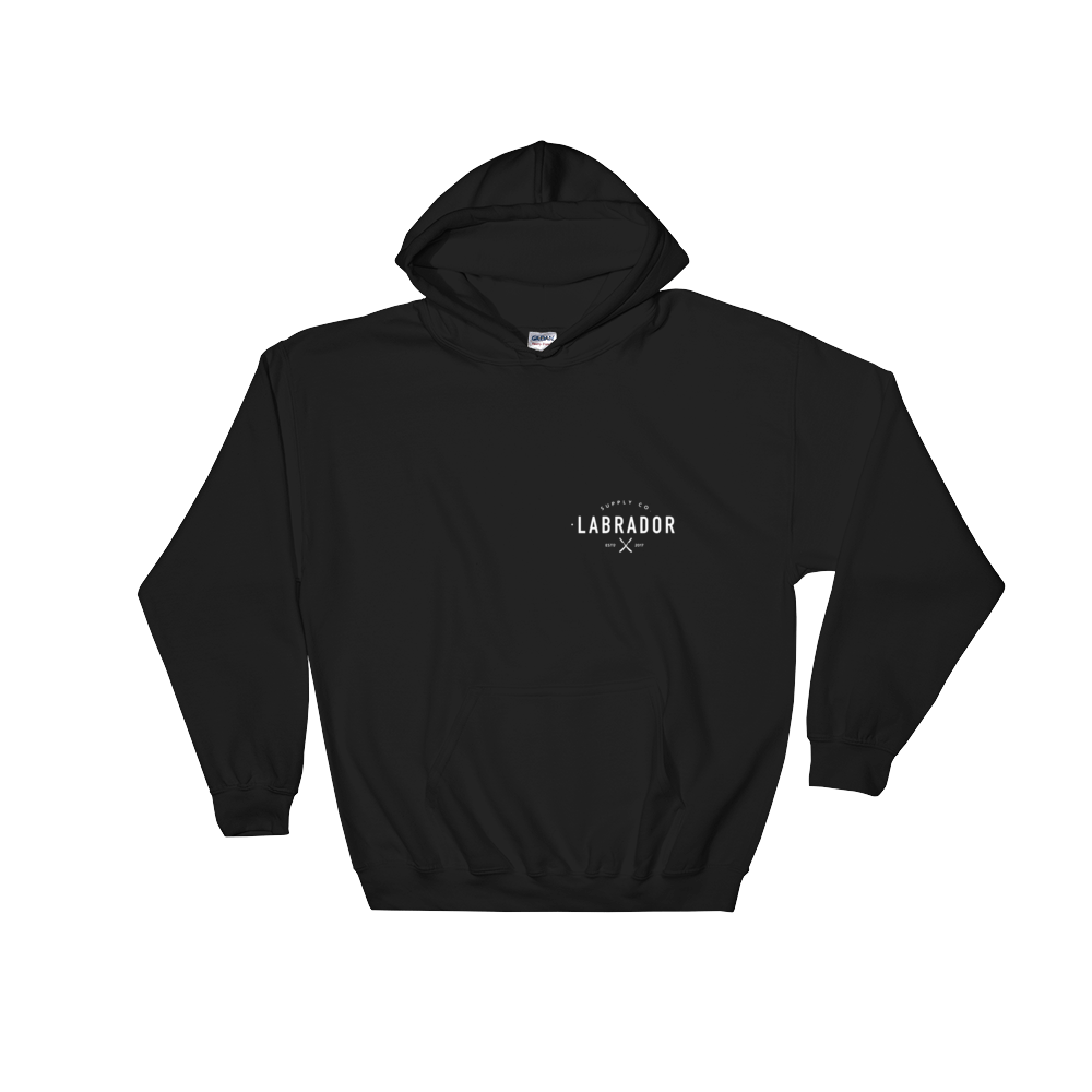 Black pullover hoodie with white Labrador Supply Co. logo on front left breast and across back. Front view.
