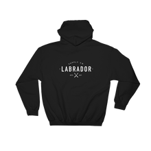 Black pullover hoodie with white Labrador Supply Co. logo on front left breast and across back. Rear view.