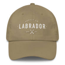 Classic khaki dad hat with white Labrador Supply Co. logo stitched on front.