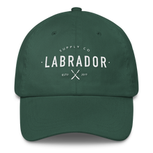 Classic spruce green dad hat with white Labrador Supply Co. logo stitched on front.