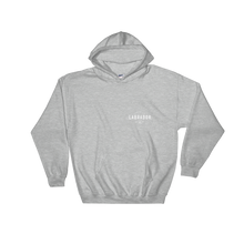 Grey pullover hoodie with white Labrador Supply Co. logo on front left breast and across back. Front view.