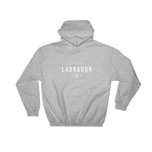 Grey pullover hoodie with white Labrador Supply Co. logo on front left breast and across back. Front view. with white Labrador Supply Co. logo on front left breast and across back. Rear view.