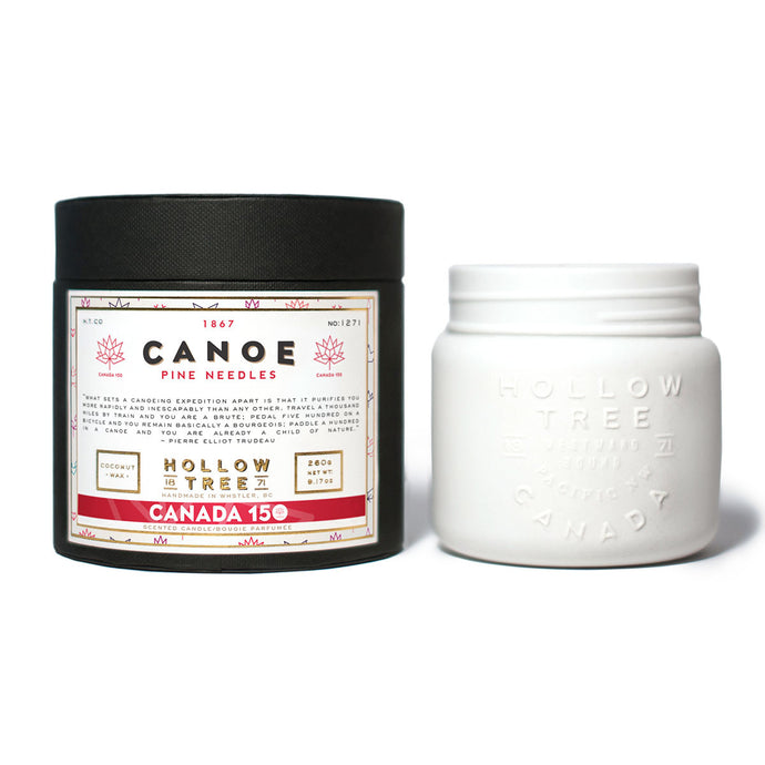 """Canoe"" Canada 150 coconut wax candle from HOLLOW TREE 1871, available at LABRADOR SUPPLY CO."