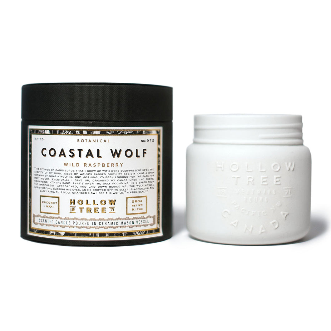 """Coastal Wolf"" coconut wax candle from HOLLOW TREE 1871, available at LABRADOR SUPPLY CO."