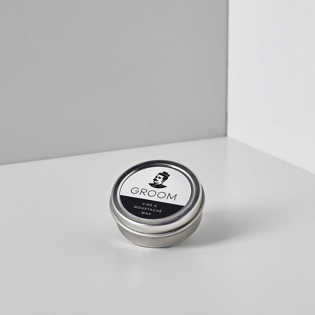 Les Industries Groom moustache wax, available at Labrador Supply Co.