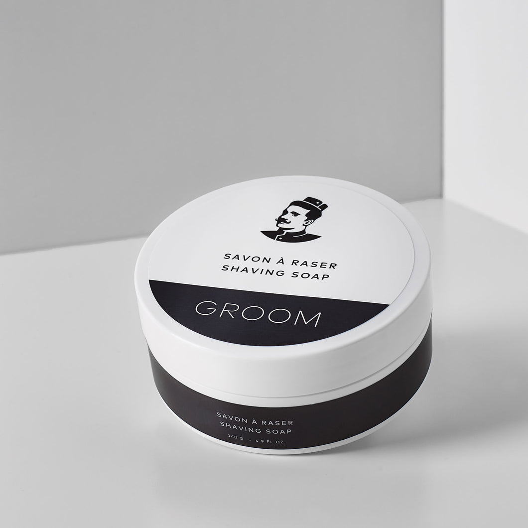 Les Industries Groom shaving soap, available at Labrador Supply Co.