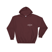 Maroon pullover hoodie with white Labrador Supply Co. logo on front left breast and across back. Front view.