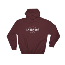 Maroon pullover hoodie with white Labrador Supply Co. logo on front left breast and across back. Rear view.