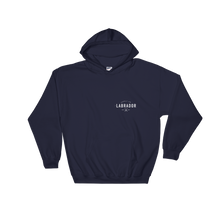 Navy blue pullover hoodie with white Labrador Supply Co. logo on front left breast and across back. Front view. with white Labrador Supply Co. logo on front left breast and across back. Front view.