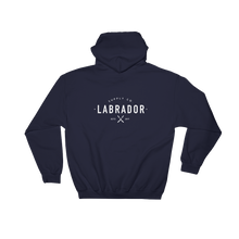 Navy blue pullover hoodie with white Labrador Supply Co. logo on front left breast and across back. Front view. with white Labrador Supply Co. logo on front left breast and across back. Rear view.