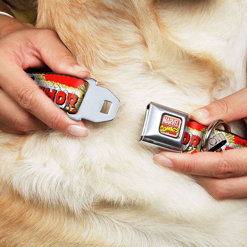 THOR & Hammer Red/Yellow/White Seatbelt Buckle Dog Collar
