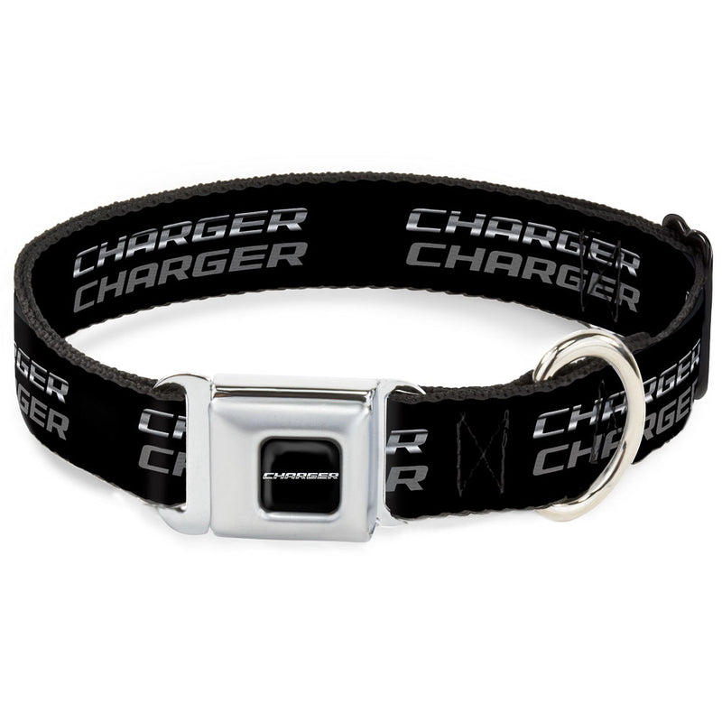 Charger Double Repeat Black/Gray Seatbelt Buckle Dog Collar
