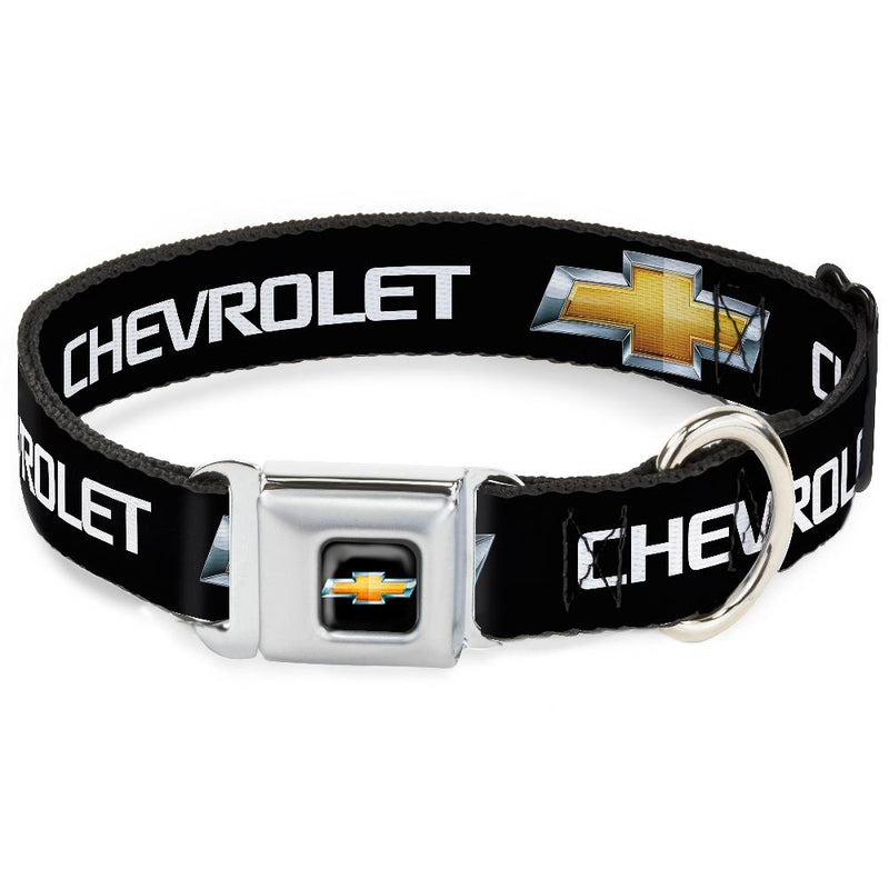 Seatbelt Buckle Dog Collar - CHB-Chevy Bowtie Full Color Black/Gold & Chevy Bowtie Black/Gold Logo