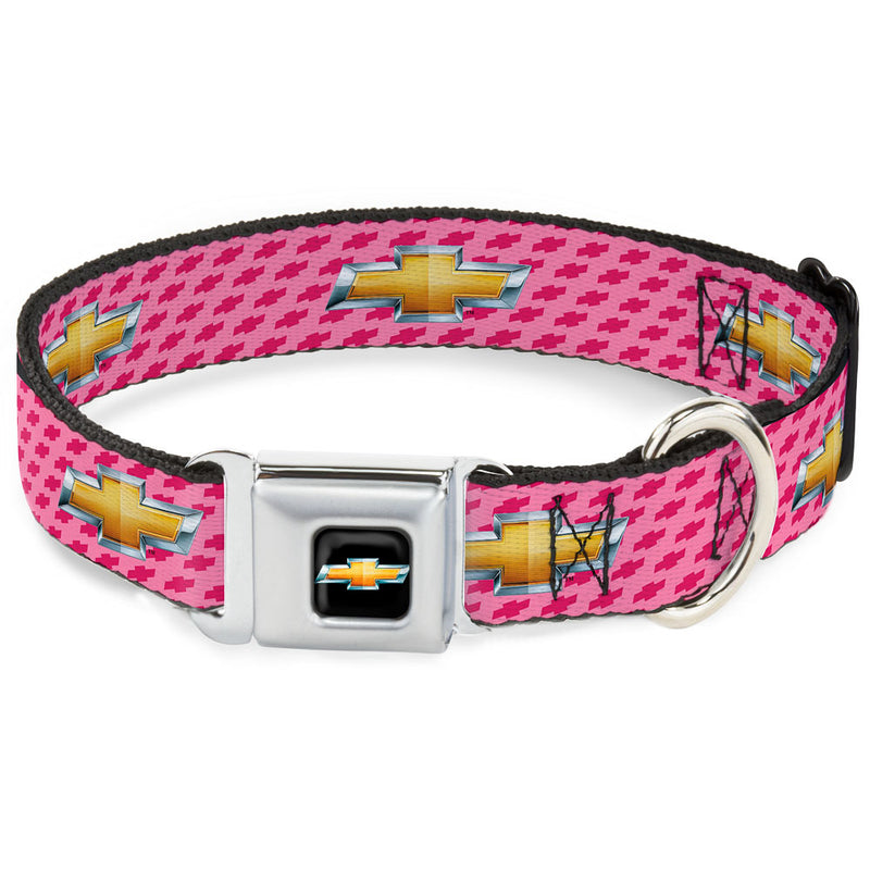 Chevy Bowtie Full Color Black/Gold - Chevy Gold Bowtie w/Logo PINK Seatbelt Buckle Dog Collar