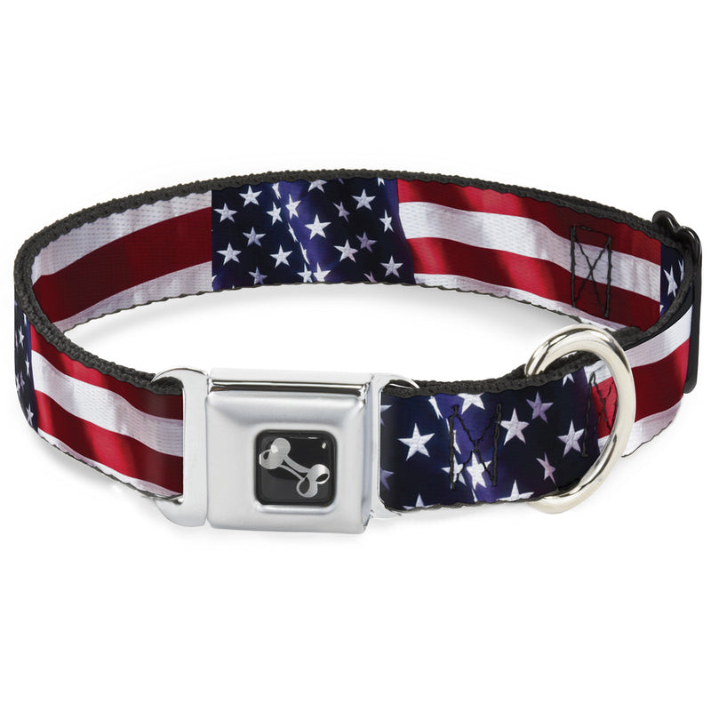 American Flag Vivid Close-Up Seatbelt Buckle Dog Collar