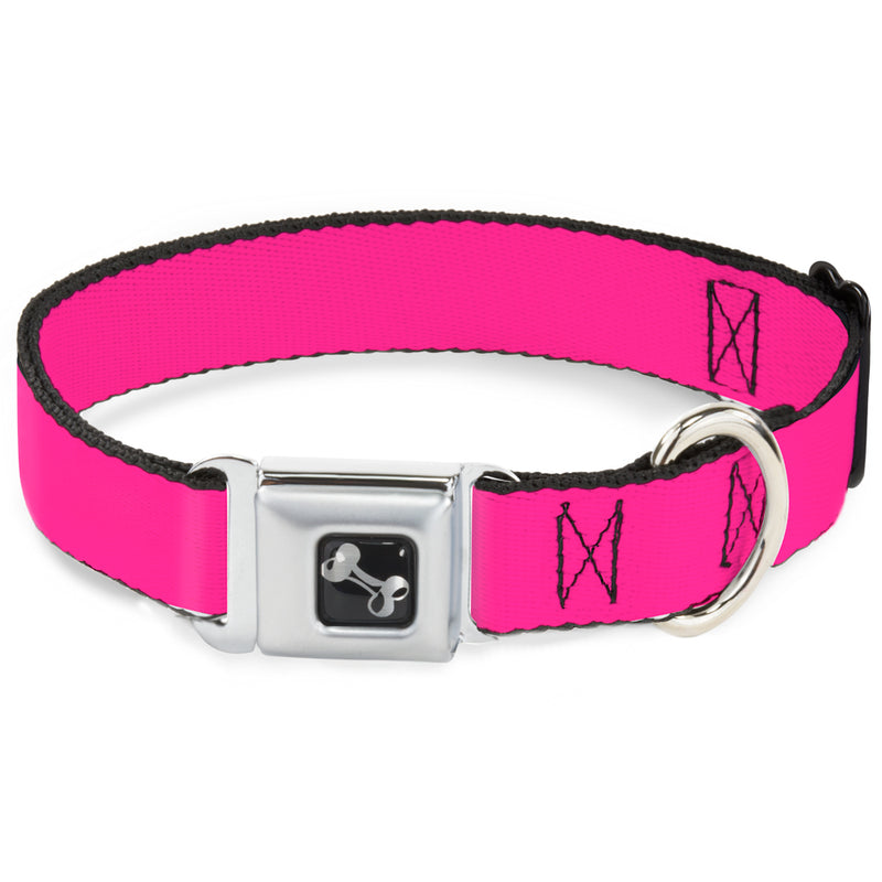 Hot Pink Print Seatbelt Buckle Dog Collar