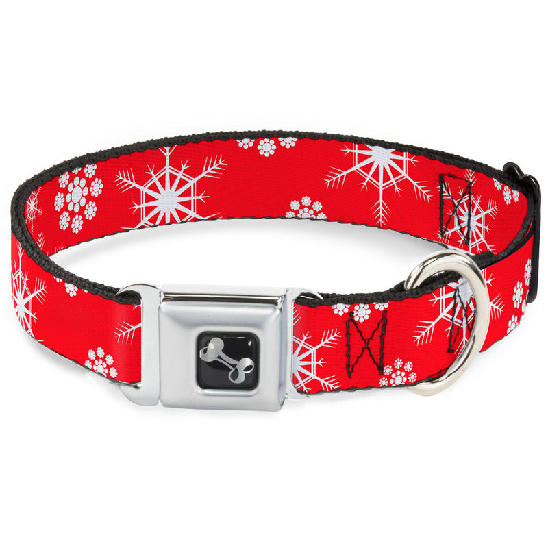 Snowflakes Red/White Seatbelt Buckle Dog Collar
