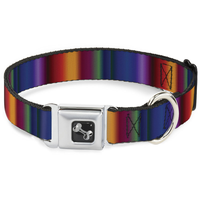 Zarape3 Vertical Multi Color Fade Seatbelt Buckle Dog Collar