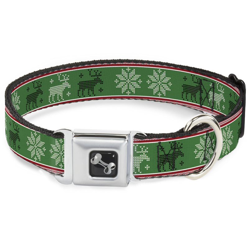 Christmas Stitch Moose/Snowflakes Red/Green Seatbelt Buckle Dog Collar