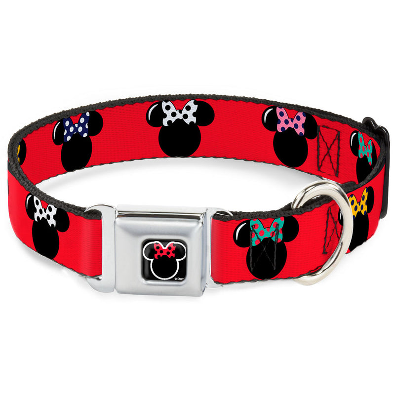 Minnie Mouse Outline Full Color Polka Dot Seatbelt Buckle Dog Collar