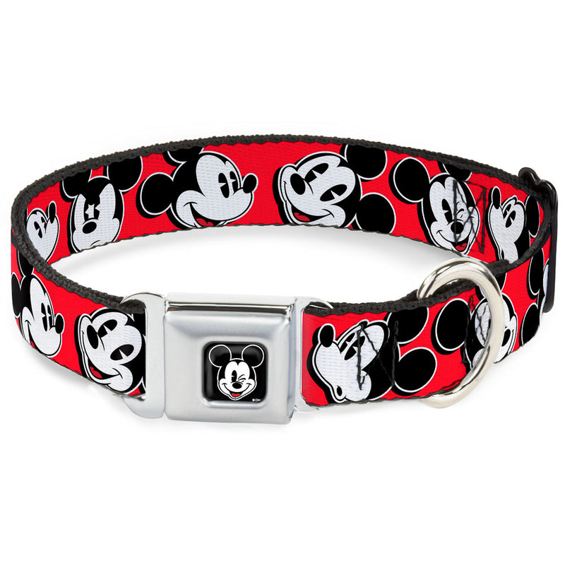 Mickey Mouse Winking Full Color Black - Expressions Seatbelt Buckle Dog Collar