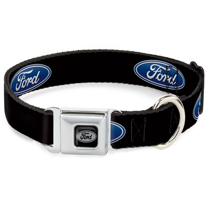 Seatbelt Buckle Dog Collar - FE-Ford Oval Black/Silver & Ford Oval Logo Repeat