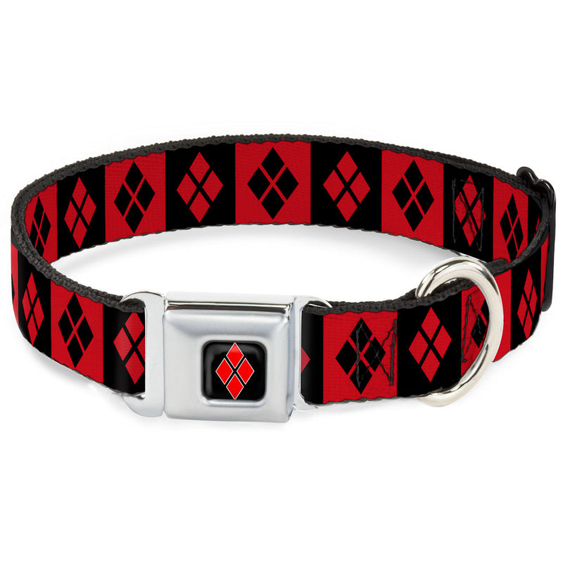 Harley Quinn Diamond Full Color Black/Red Seatbelt Buckle Dog Collar