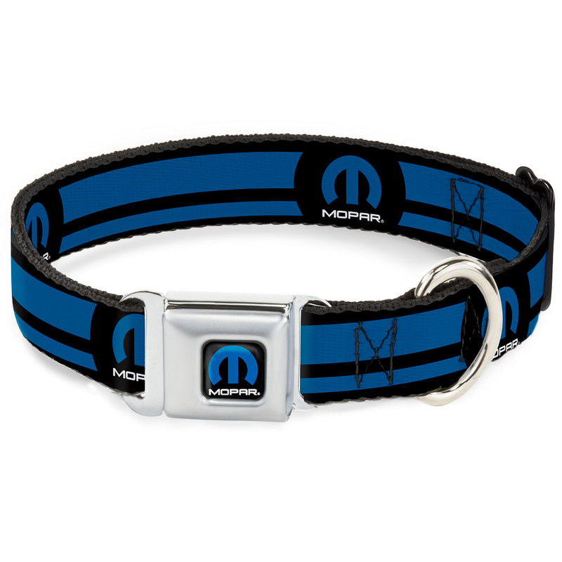 MOPAR Color Logo/Stripe Black/Blue Seatbelt Buckle Dog Collar