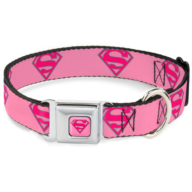 Superman Pink - Superman Shield Pink Seatbelt Buckle Dog Collar