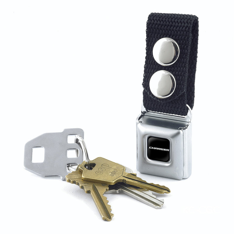 Seatbelt Buckle Keychain - CHARGER Text Black/Silver