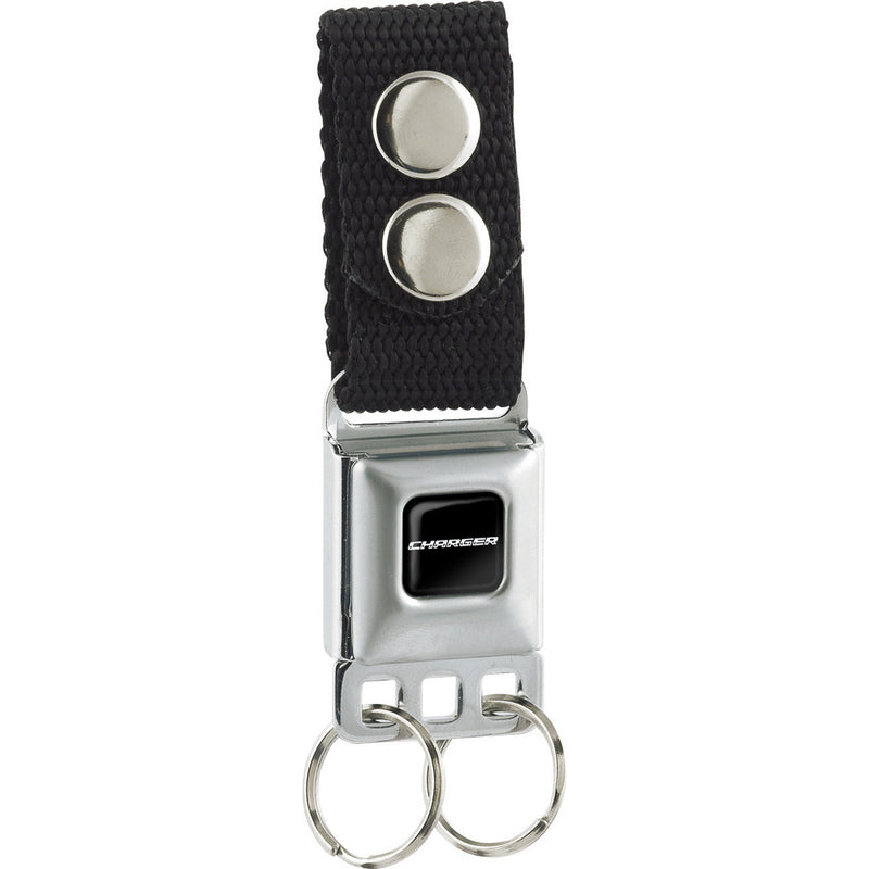 CHARGER Text Black/Silver Seatbelt Buckle Keychain