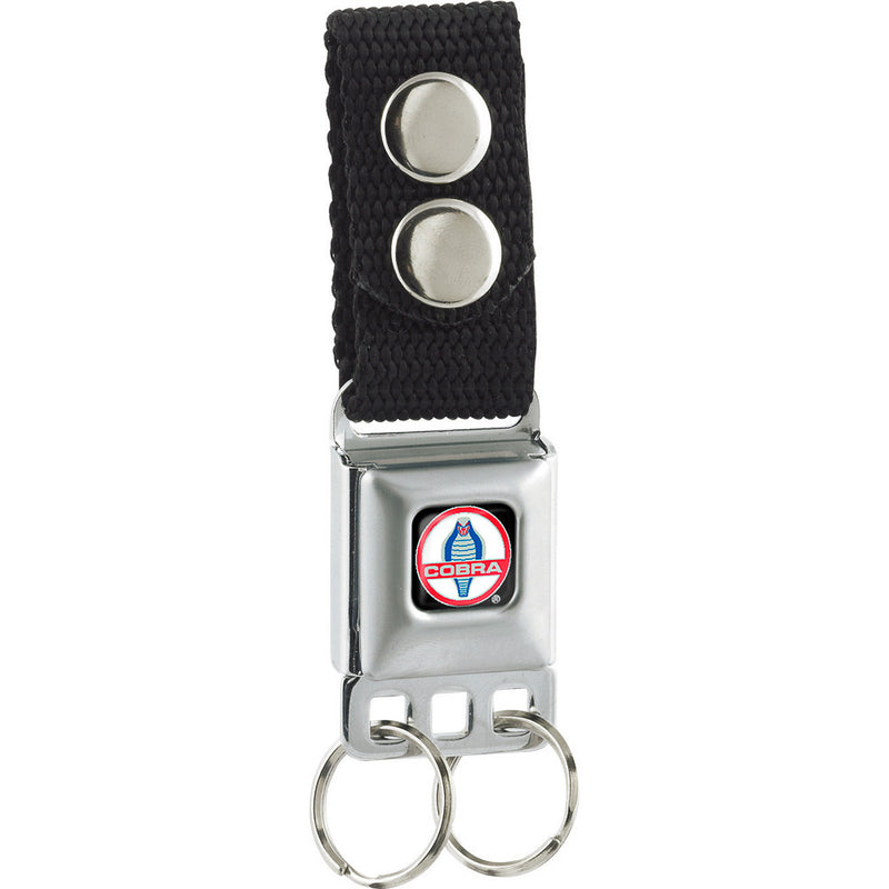 Seatbelt Buckle Keychain - Classic Mustang Cobra Logo Full Color Black/Red/White/Gray/Blue