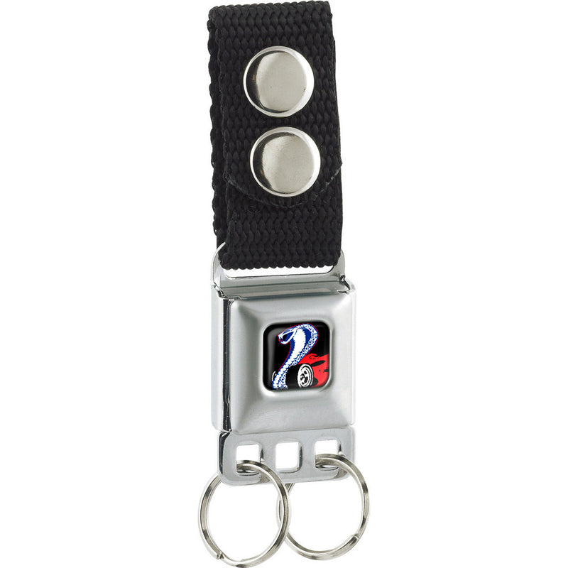 Flaming Cobra Jet Logo Full Color Black/Red/White/Blue Seatbelt Buckle Keychain