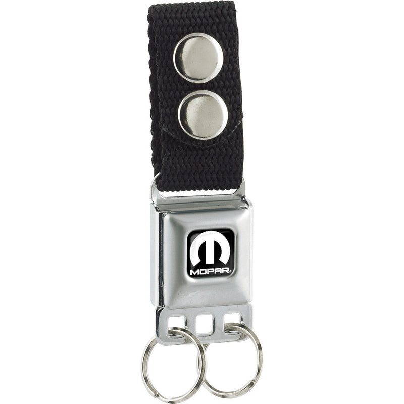 Seatbelt Buckle Keychain - MOPAR Logo Full Color Black/White