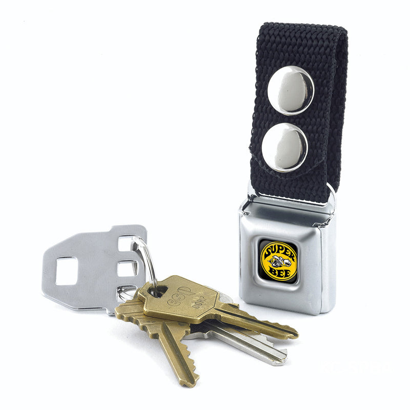 SUPER BEE Logo Full Color Black/Yellow/White - Black Seatbelt Buckle Keychain