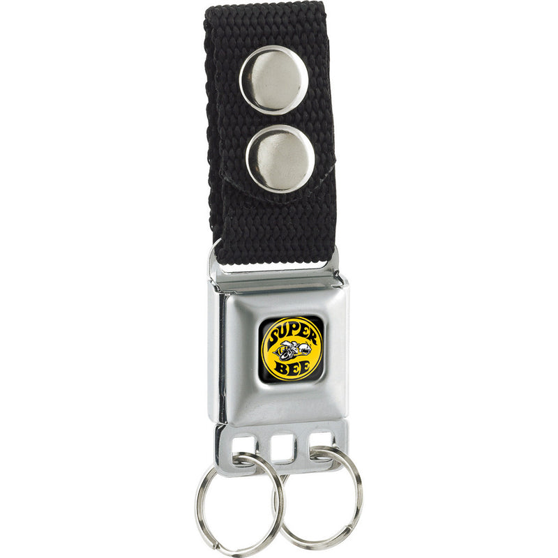 Seatbelt Buckle Keychain - SUPER BEE Logo Full Color Black/Yellow/White - Black