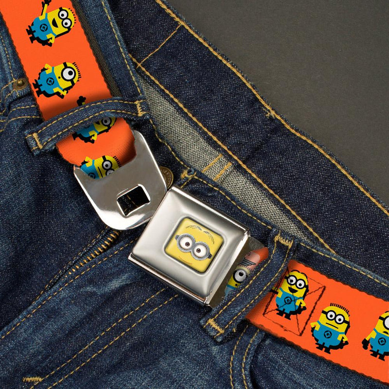 Seatbelt Belt - Minion Dave Face CLOSE-UP Full Color - 6-Minions Standing