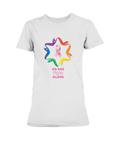Women's Breast Cancer Awareness T-Shirt. N.O.F.A. Rainbow.