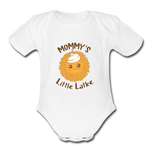 Mommy's Little Latke. Organic Baby Bodysuit. - white