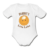 Bubbe's Little Latke. Organic Baby Bodysuit. - white
