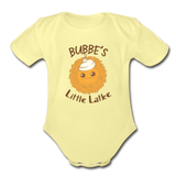Bubbe's Little Latke. Organic Baby Bodysuit. - washed yellow