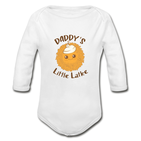 Daddy's Little Latke. Organic Long Sleeve Baby Bodysuit. - white
