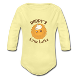 Daddy's Little Latke. Organic Long Sleeve Baby Bodysuit.- washed yellow