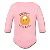 Daddy's Little Latke. Organic Long Sleeve Baby Bodysuit. - light pink