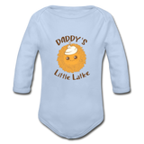 Daddy's Little Latke. Organic Long Sleeve Baby Bodysuit. - sky