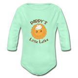 Daddy's Little Latke. Organic Long Sleeve Baby Bodysuit. - light mint