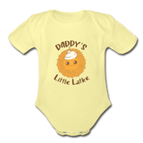 Daddy's Little Latke. Organic Baby Bodysuit - washed yellow